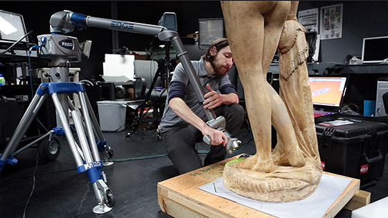 Jon Blundell of the Smithsonian Digitization Program Office 3D Scanning the Greek Slave