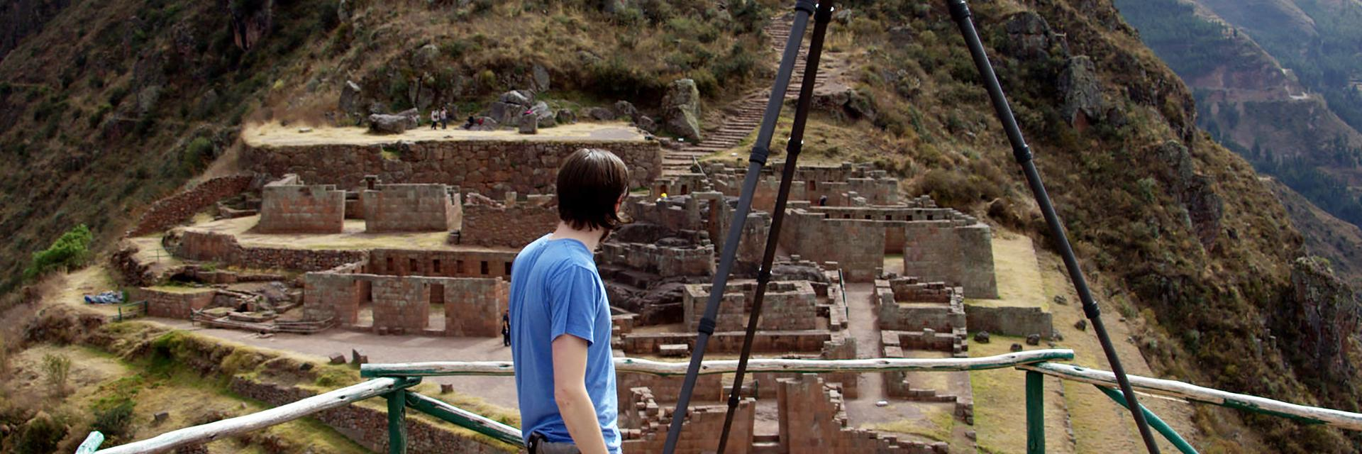 Jon Blundell, a 3D digitization specialist at the Smithsonian, capturing 3D data points of the Inka archaeological site at Pisac. Pisac, Peru, 2014. Photo by Samy Chiclla